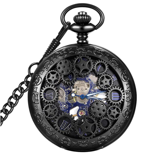 1. LYMFHCH Blue Hands Mechanical Skeleton Steampunk Pocket Watch for Christmas Gift