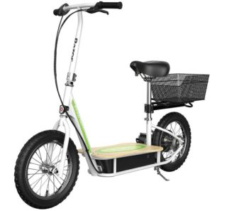 1. Razor Electric Scooter with Seat and Wide Bamboo Deck Eco Smart