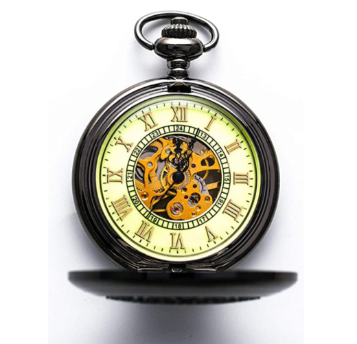 10. BOSHIYA Steampunk Pocket Watch with Chain and Vintage Luminous Roman Letters Design