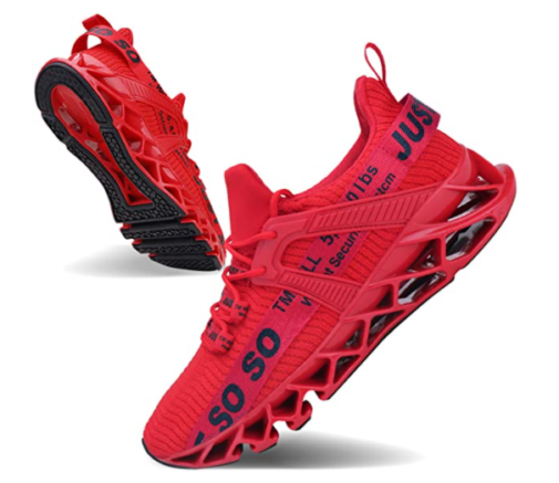 10. JSLEAP Red Running Shies for Men with Non-Slip Blade Sneakers