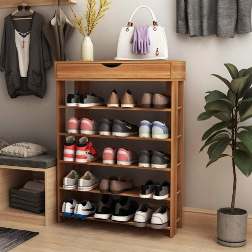 10. SogesPower Free-Standing 5-Tier Shelf Wooden Shoe Rack