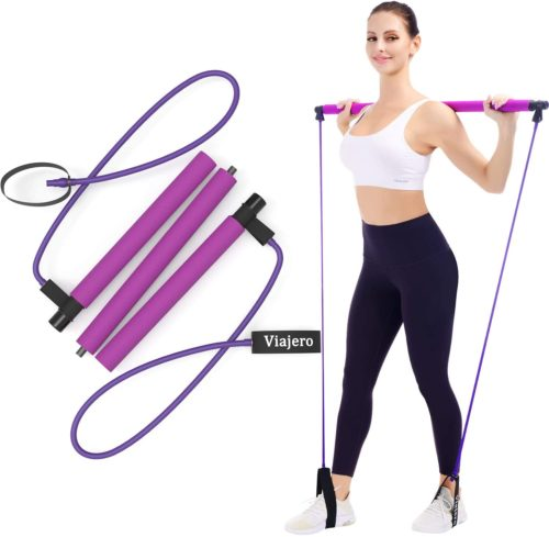 10. Viajero Portable Pilates Exercise Bar Kit for Home Yoga Gym Workout