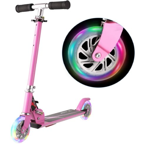 11. WeSkate Two Wheel Scooter for Kids with LED Light Up and Adjustable Height - Foldable 2 Wheel Kick Scooter