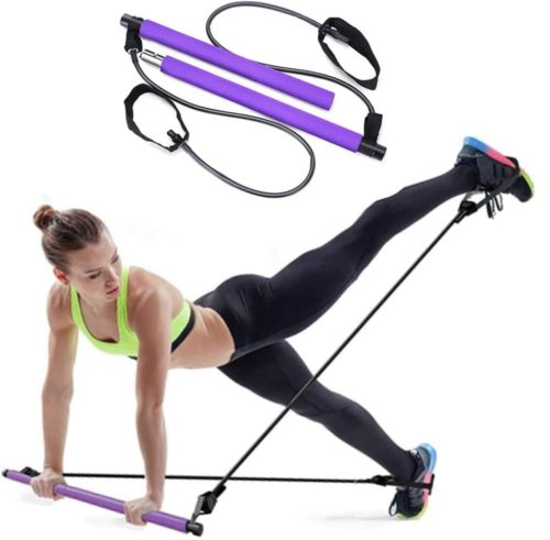 12. CHONGQI Pilates Exercise Bar Kit for Home Workout and Yoga with Foot Loop
