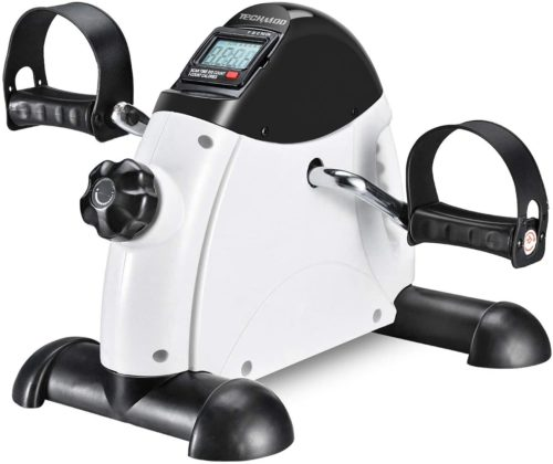 12. TECHMOO Portable Therapy Mini Exercise Bike for Arm and Leg - Exercise Peddler Under Desk Bike