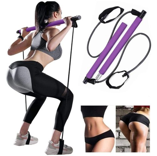 13. Bssay Portable Yoga Exercise Bar Kit with Resistance Band for Yoga and Workout