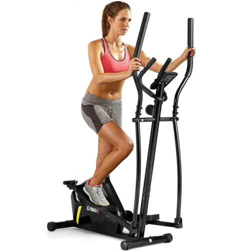 13. GYMAX Compact Elliptical with Adjustable Magnetic and LCD Monitor