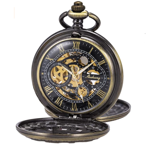 13. SIBOSUN Mechanical Steampunk Pocket Watch with Double Case