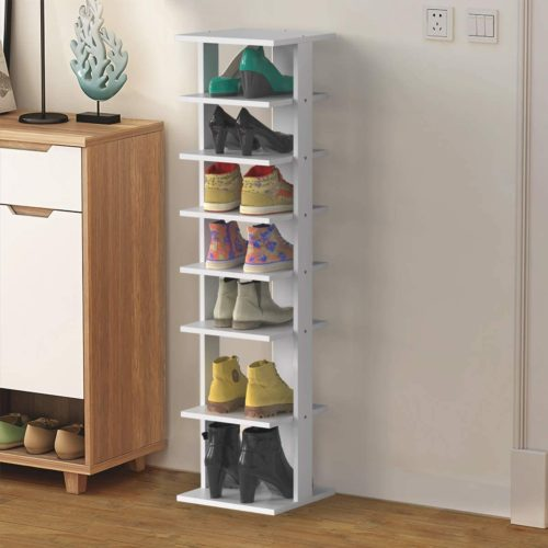 13. Tangkula Self Stand Wooden Shoe Rack Organizer