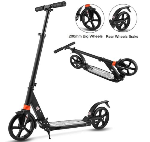 14. Aceshin Scooter Two Wheel Scooter for Kids Teen Adult with Height Adjustable Shoulder Strap Rear - Foldable 2 Wheel Kick Scooter