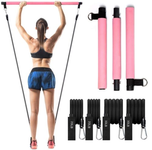 15. EDRThfg Pilates Exercise Bar Kit with Yoga Resistance Band for Leg and Butt
