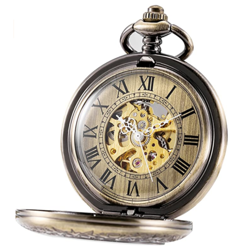 15. TREEWETO Automatic Mechanical Steampunk Pocket Watch for Men and Women