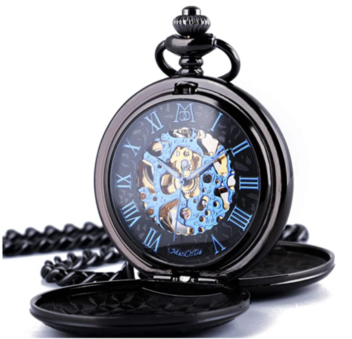 2. ManChDa Mechanical Roman Numerals Dial Skeleton Steampunk Pocket Watch with Chains and Box
