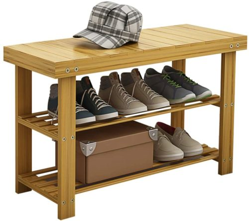 2. Udear Nature Wooden Shoe Rack Bench