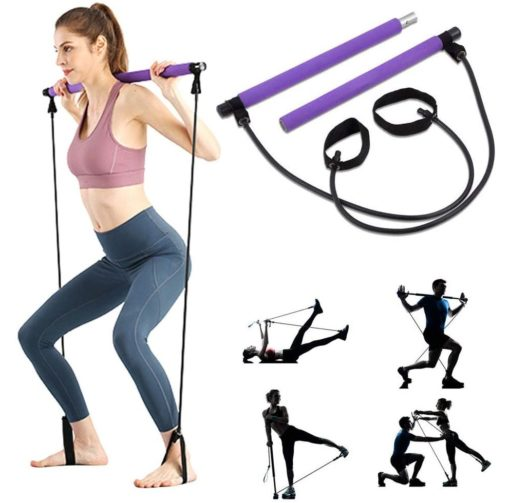 3. ShaggyDogz Portable Pilates Exercise Bar Kit with Resistance Band and Foot Loop