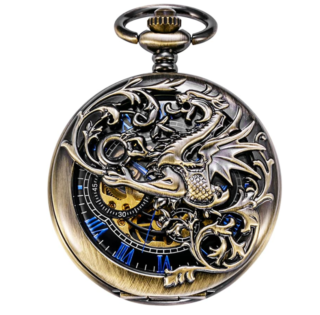 3. TREEWETO Mechanical Steampunk Pocket Watch with Double Dream Dragon Half Hunter Case