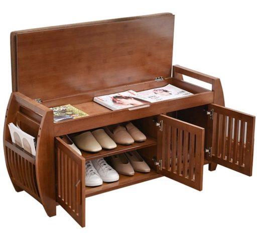 3. YUSING Wooden Shoe Rack with Removable Cushion and Hidden Storage - Best Wooden Shoe Rack Cabinet