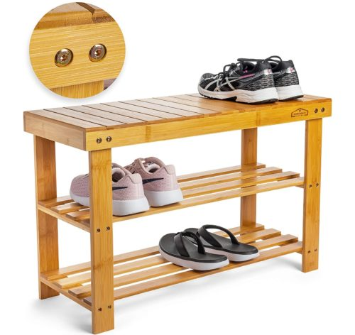 4. Homemaid Wooden Shoe Rack Bench Organizer