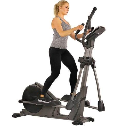 4. Sunny Health & Fitness Magnetic Compact Elliptical Training Machine with Heart Rate Monitoring