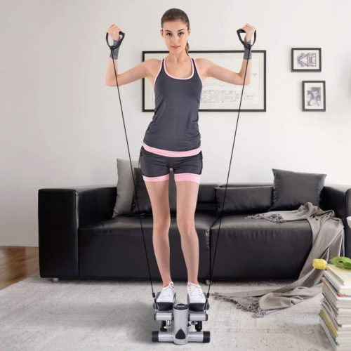 5. Goplus Mini Stepper Machine with LCD Display and Resistance Band