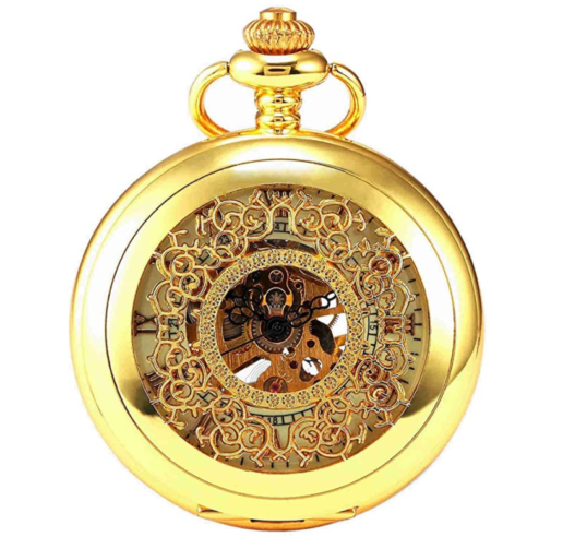 5. NEW BRAND MALL Steampunk Pocket Watch Vintage Roman Letters Case