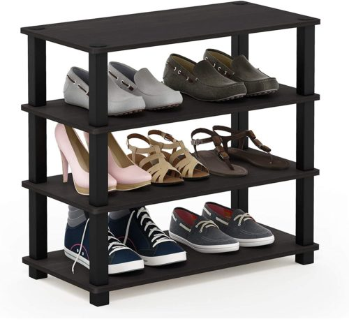 6. Furinno Turn S Tube Wooden Shoe Rack