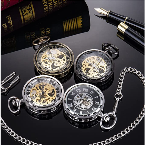 6. SIBOSUN Transparent Open Face Steampunk Pocket Watch with Chain