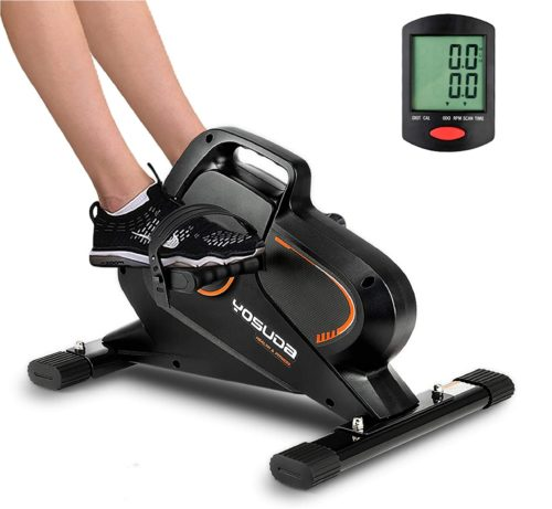 6. YOSUDA Mini Exercise Bike with Display Monitor - Exercise Peddler Under Desk Bike for Home and Office