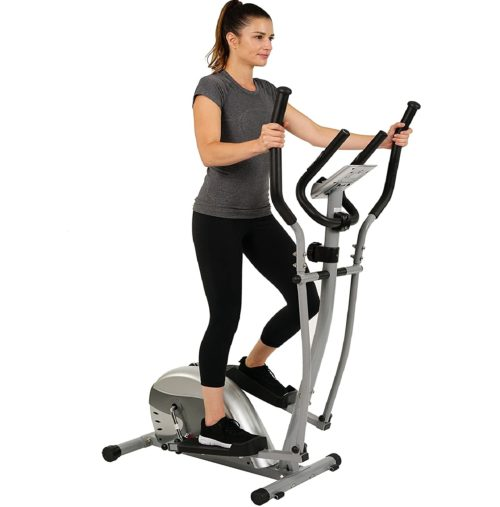 8. EFITMENT Magnetic Compact Elliptical Machine Trainer with Pulse Rate Grips and LCD Monitor