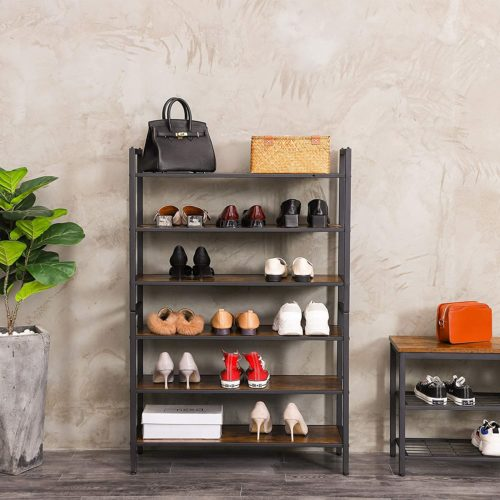 8. HOOBRO Industrial 3 Tiers Stackable Wooden Shoe Rack Organizer - DIY Wood Shoe Rack Ideas for Space Saving