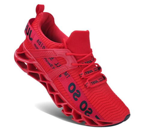8. UMYOGO Mens Walking Athletic Red Running Shoes