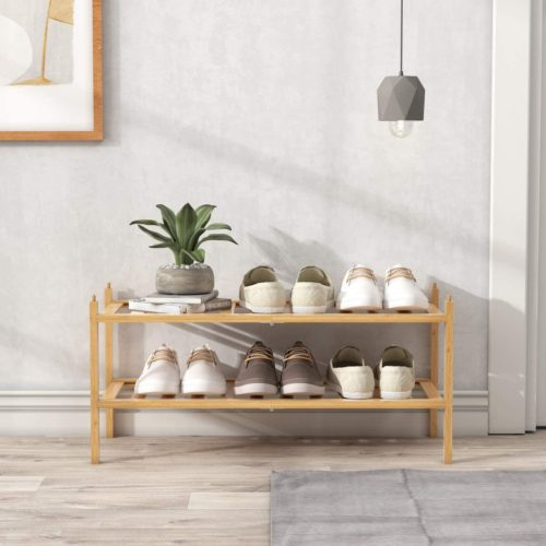 9. BAMEOS Stackable 2 Tier Shelf Wooden Shoe Rack