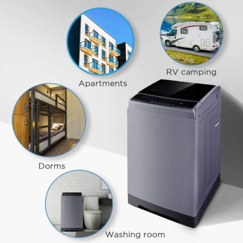 9. COMFEE Automatic Portable Washing Machine with Wheels and Drain Pump - Compact Washer and Dryer for Apartment or Camping