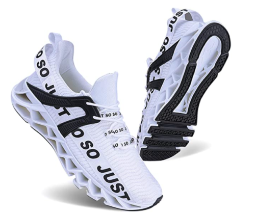 9. JSLEAP Girls White Running Shoes for Bad Knees with Non-Slip Sneakers