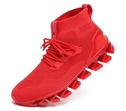 9. TSIODFO Men Sports Red Running Shoes for Walking Athletic