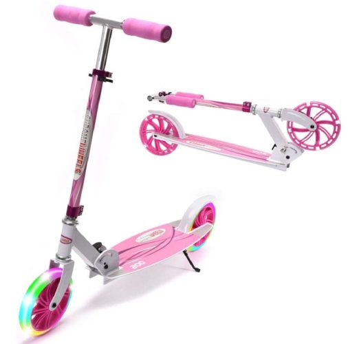 Chrome Two Wheel Scooter for Kids with LED Light Wheel and Adjustable Height