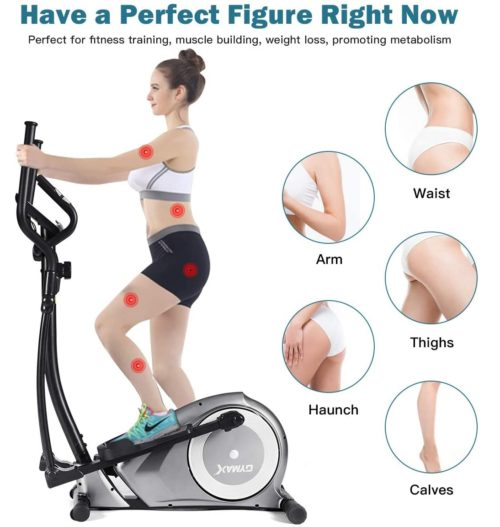 Goplus Compact Elliptical Machine Trainer with Eight Level Resistance and Digital Monitor