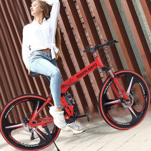 Lloopyting Folding MountainSpecialized Hybrid Bikes Under 500 with Retro Styled Cruiser 21 Speed for Men and Women
