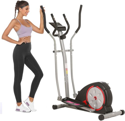 Ncient Compact Elliptical Machine Trainer for Home Gym with LCD Monitor and Magnetic Smooth Driver, Pulse Rate Grips
