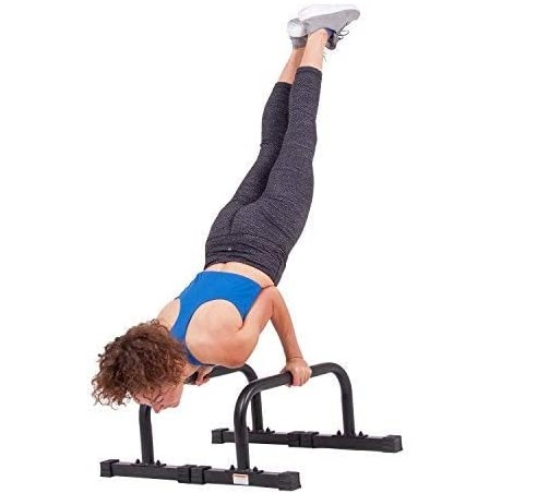 Body Power Non-Slip Push Up Bar Stand Parallette with Knurling Grip