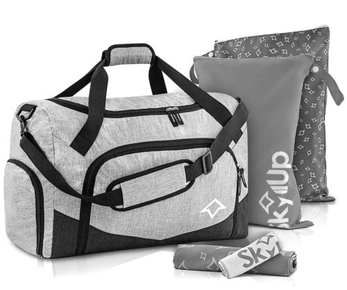 Skyllup Waterproof Weekender Gym Bag with Shoe Compartment Fitness for Men and Women