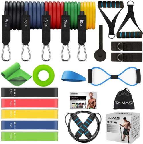 TAIMASI Exercise Sports Bands Kits Resistance Elastic Bands with Handles