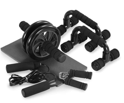 TOMSHOO Wheel Roller Kit with Push Up Bar Hand Gripper and Knee Pad