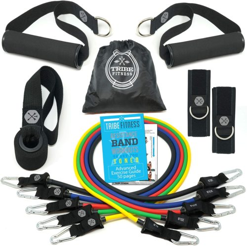 TRIBE Exercise Bands Set, Fitness Tension Elastic Bands Kit with EBook